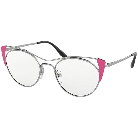 Prada Cat Eye Women's Eyeglasses Silver Pink w/Demo Lens PR58VV 3321O1