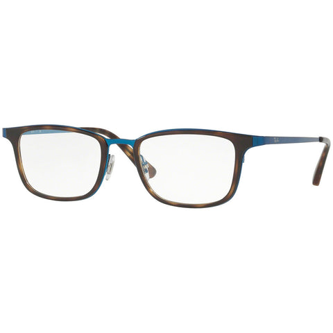 Ray-Ban Rectangular Men's Eyeglasses Brushed Blue w/Demo Lens RX6373M-2924-52