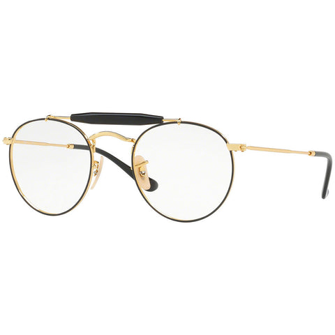 Ray-Ban Round Unisex Eyeglasses Gold Black w/Demo Lens RX3747V-2946