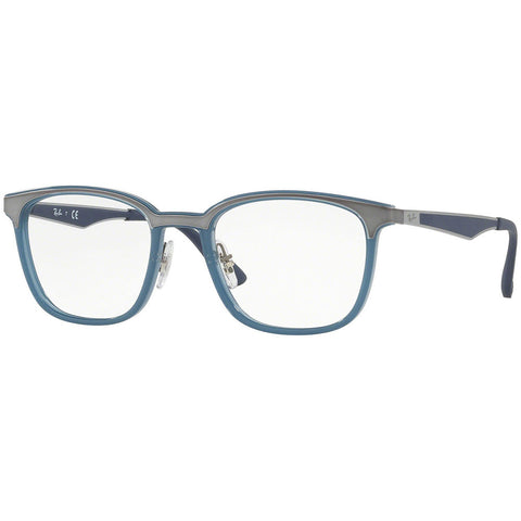 Ray-Ban Square Unisex Eyeglasses Transparent Light Blue w/Demo Lens RX7117-8019