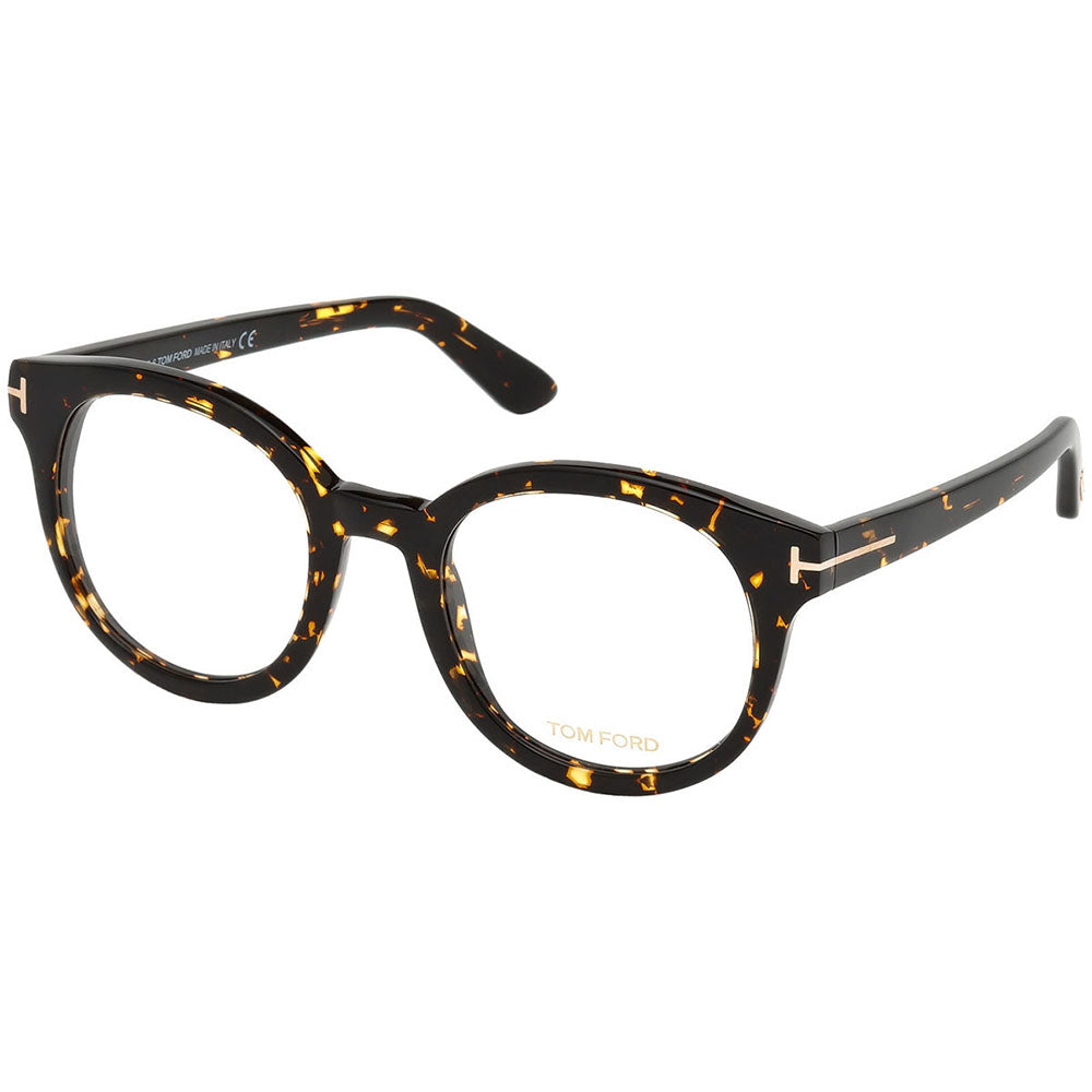 Tom Ford Women's Round Eyeglasses Dark Havana w/Demo Lens FT5491 052
