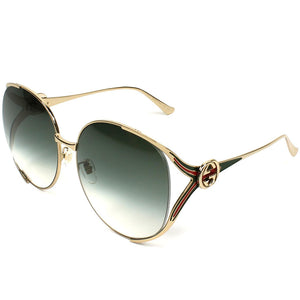 Gucci Round Women's Sunglasses W/Green Gradient Lens GG0225S-003