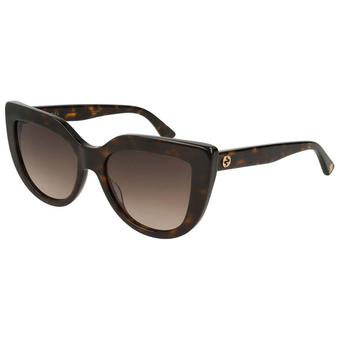 Gucci Cat Eye Women's Sunglasses W/Brown Gradient Lens GG0164S-002