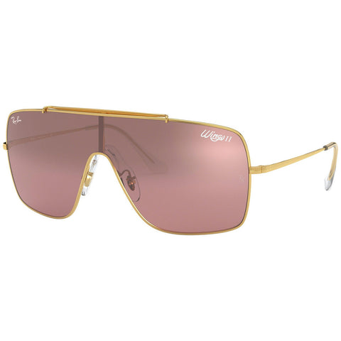 Ray-Ban Wings II Men's Sunglasses Gold Frame W/Violet Silver Gradient Lens RB3697 9050Y2
