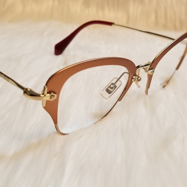 Miu Miu RX Cat Eye Women's Gold Eyeglasses - Complete View