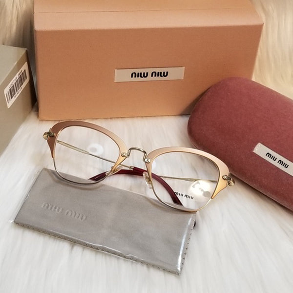 Miu Miu RX Cat Eye Women's Gold Eyeglasses Demo Lens 50mm