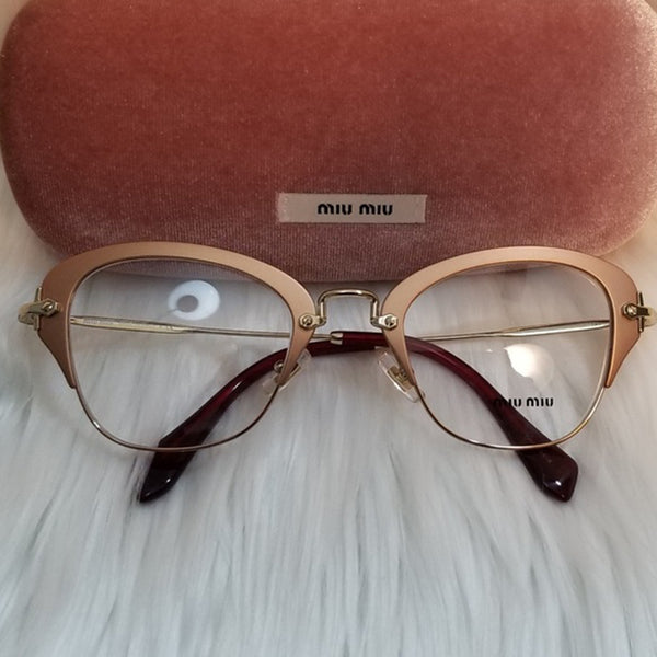 Miu Miu RX Cat Eye Women's Gold Eyeglasses - Frame View