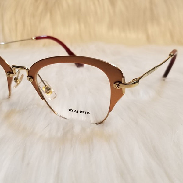Miu Miu RX Cat Eye Women's Gold Eyeglasses - Lens View