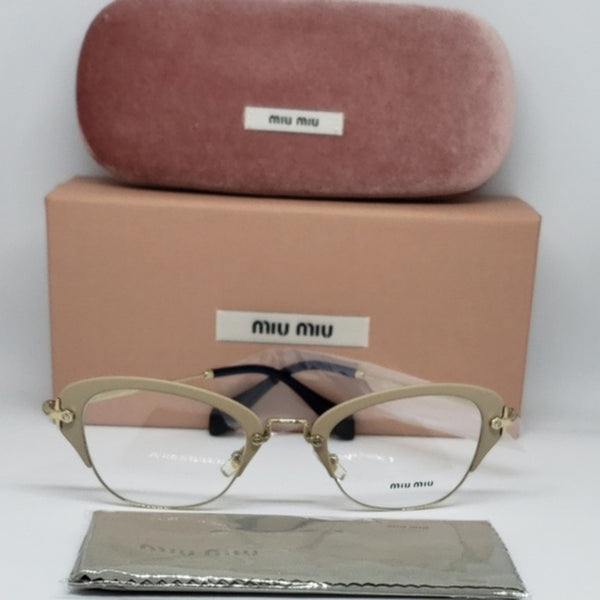 Miu Miu RX Cat Eye Women's Gold Eyeglasses Demo Lens