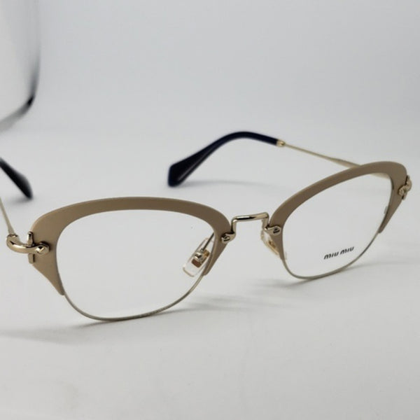 Miu Miu RX Cat Eye Women's Gold Eyeglasses - Full Frame View