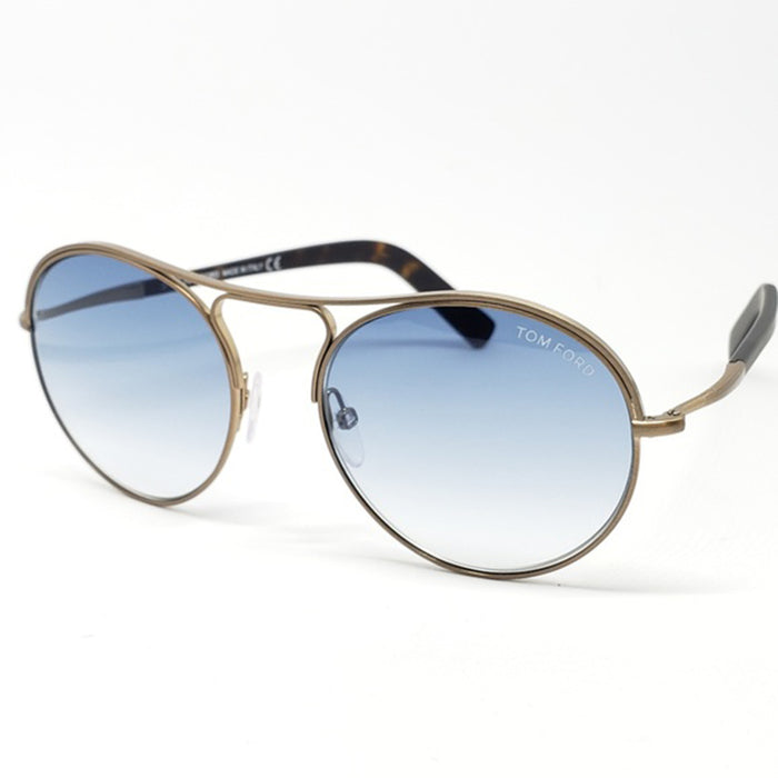 Tom Ford Unisex Round Style Sunglasses Matte Dark Bronze w/Blue Gradient Lens  TF449 37W