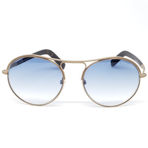 Tom Ford Round Unisex Sunglasses Blue Lens | Frame View