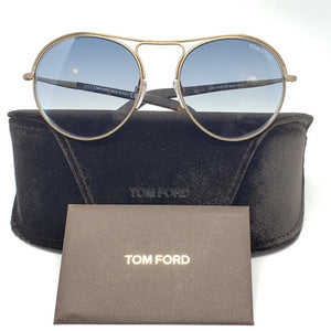 Tom Ford Round Unisex Sunglasses Blue Lens | Box View
