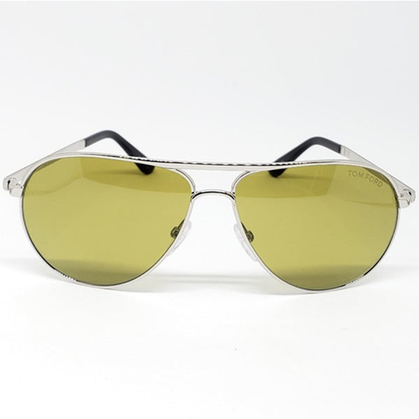 Tom Ford Marko Aviator Unisex Sunglasses Silver - Green Lens