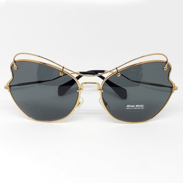 Miu Miu Butterfly Women Antique Gold Sunglasses | Front Side