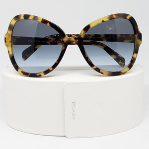 Prada Butterfly Women Sunglasses Havana With Blue Lens