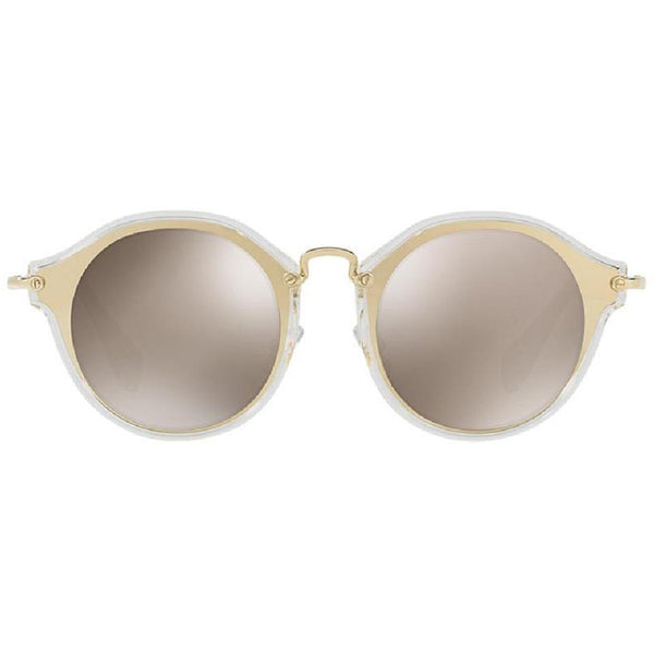 Miu Miu Round Women's Sunglasses Brown Lens - Front Side