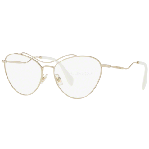 Miu Miu Cat Eye Women's Eyeglasses Pale Gold w/Demo Lens MU53P ZVN101