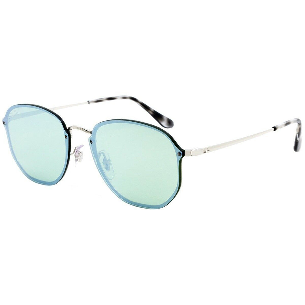 Ray-Ban Blaze Hexagonal Unisex Sunglasses Dark Green/Silver Mirrored Lens RB3579N 003/30 58