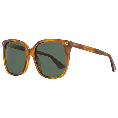 Gucci Square Women's Sunglasses Havana W/Green Lens GG022S 002