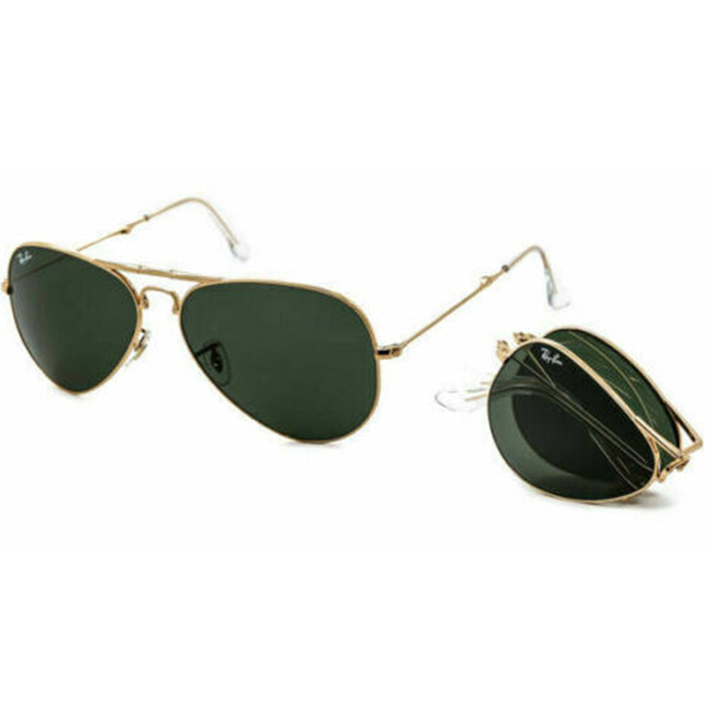 Ray-Ban Aviator Folding Unisex Sunglasses W/Green Classic G-15 Lens RB3479 001 58