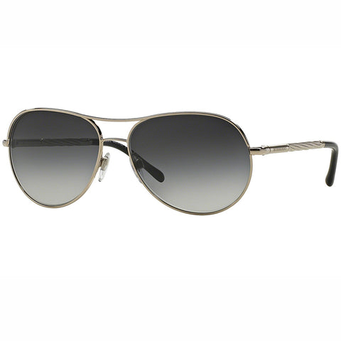 Burberry Sunglasses Silver w/Grey Gradient Lens Women BE3082 1005/8G