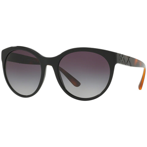 Burberry Women's Round Sunglasses Black W/Grey Gradient Lens BE4236 30018G