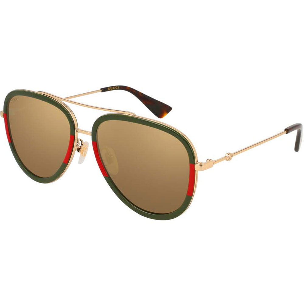 Gucci Aviator Women's Sunglasses W/Gold Lens GG0062S-010