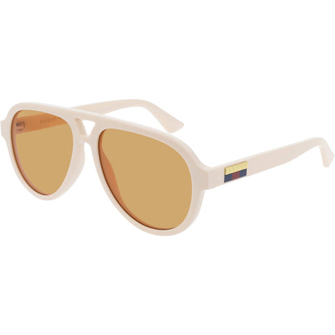 Gucci Aviator Men's Sunglasses White W/Orange Lens GG0767S 004