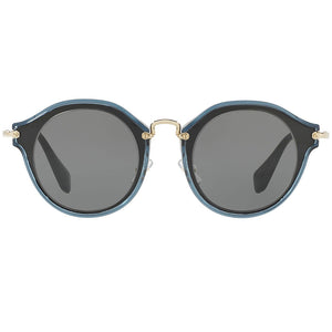 Miu Miu Round Women Black Sunglasses Grey Lens | Front View
