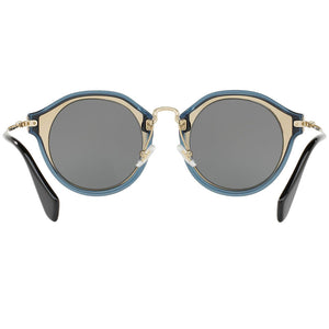 Miu Miu Round Women Black Sunglasses Grey Lens | Back View