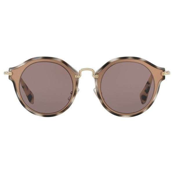 Miu Miu Women's Round Sunglasses Brown Lens - Front View