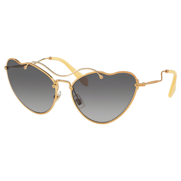 Miu Miu Cat Eye Women Antique Gold Sunglasses Grey Lens