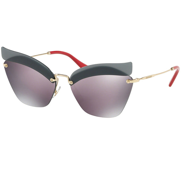 Miu Miu Cat Eye Women Sunglasses Purple Mirror Lens