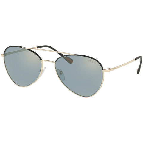 Prada Aviator Men's Sunglasses W/Azure Flash Lens PS50SS AAV298