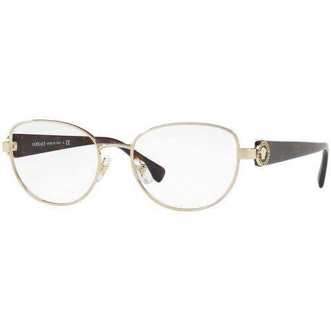 Versace Cat Eye Women's Eyeglasses Pale Gold w/Demo Lens VE1246B 1252