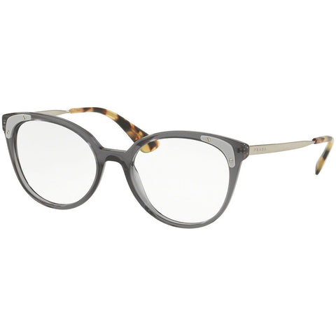 Prada Cat Eye Women's Eyeglasses Transparent Grey Frame w/Demo Lens PR12UV TSI1O1
