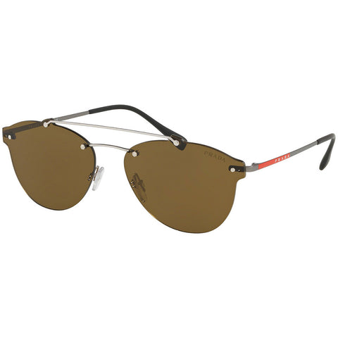 Prada Aviator Men's Sunglasses Silver W/Brown Lens PS55TS 1AP2P1