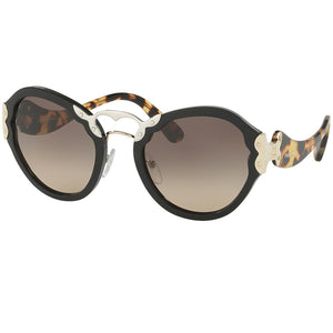 Prada Oval Women's Sunglasses Black With Brown Lens