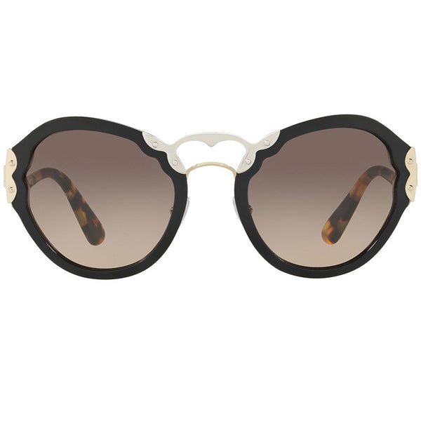 Prada Oval Women's Sunglasses Black With Brown Lens - Front