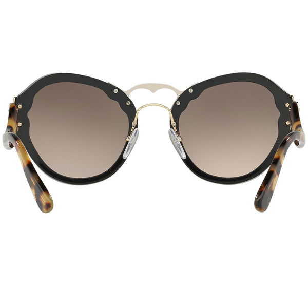 Prada Oval Women's Sunglasses Black With Brown Lens - Back