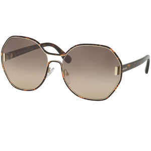 Prada Round Women's Sunglasses Dark Havana - Brown Lens