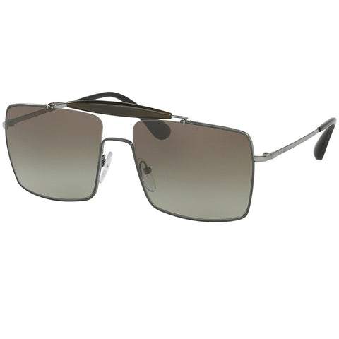 Prada Sunglasses Top Grey/Gunmetal w/Brown Gradient Lens Women
