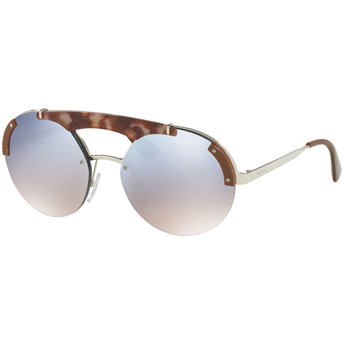 Prada Women's Sunglasses Round Style Silver Pink Havana Brown w/ Light Blue Silver Gradient/Mirrored Lens  PR52US-C135R0