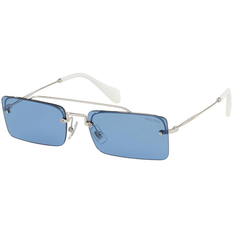Miu Miu Rectangular Women's Sunglasses Silver Frame w/Light Blue Lens MU59TS 1BC2J1