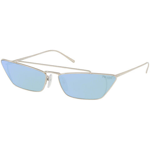 Prada Cat Eye Women's Sunglasses Silver Frame w/Blue Lens PR64US 1BC123