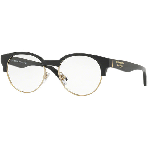 Burberry Round Women's Eyeglasses Black / Light Gold Frame w/Demo Lens BE2261 3001