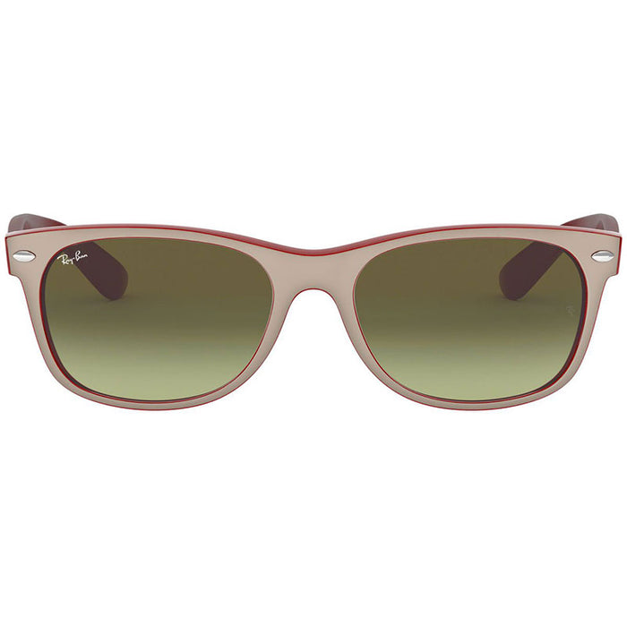 Ray-Ban Men's New Wayfarer Color Mix Matte Beige on Opal Red Sunglasses Brown Gradient RB2132 6307A6 58