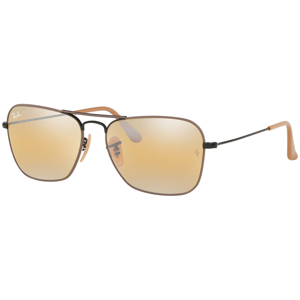 New Authentic Ray Ban Caravan Men's Sunglasses w/Yellow Gradient Mirrored Lens RB3136 9153AG