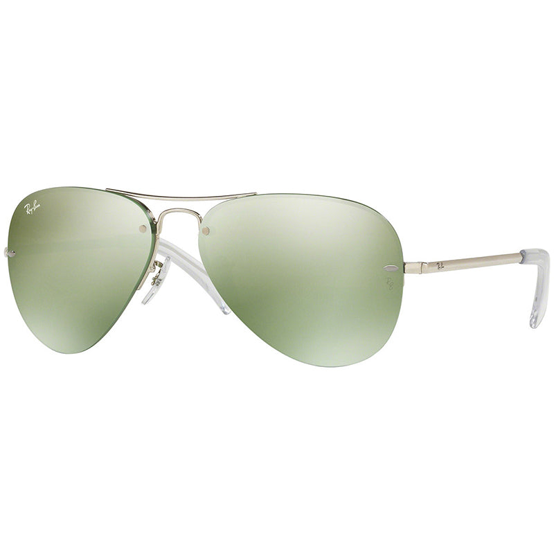 Ray-Ban Aviator Sunglasses Men Silver w/ Green Flash/Silver Mirrored Lens RB3449 904330